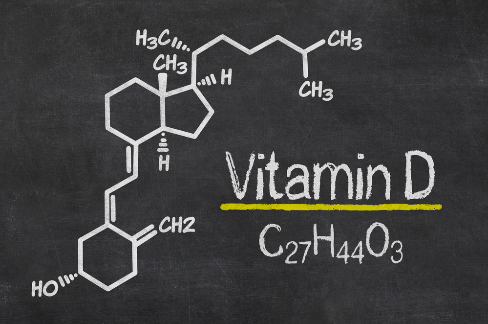 Blackboard with the chemical formula of Vitamin D