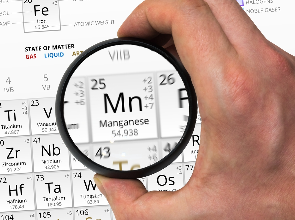 Manganese symbol - Mn. Element of the periodic table zoomed with